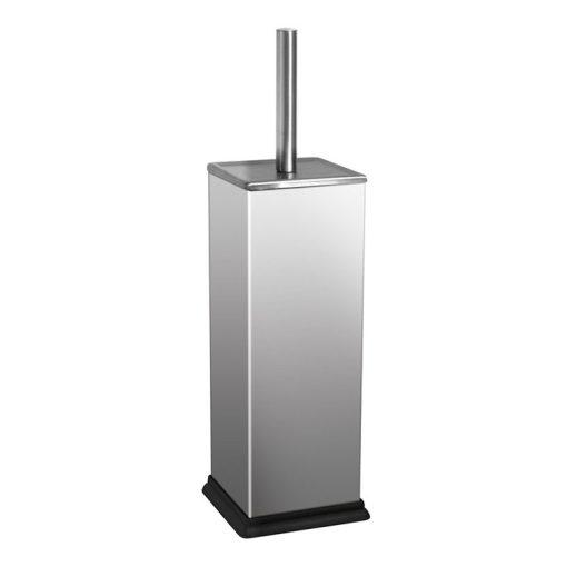 Bisk NIAGARA 00119 szögletes fényes rozsdamentes acél álló wc kefe tartóval