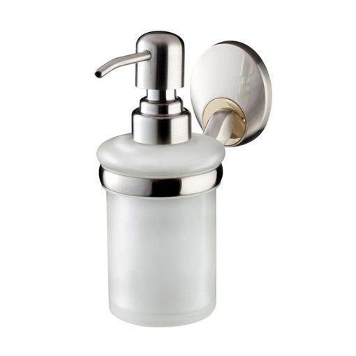 Bisk PASSION 03557 mattkróm fali üveg folyékonyszappan adagoló tartóval cserélhető króm/arany betéttel