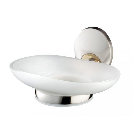 Bisk PASSION 03559 mattkróm fali üveg szappantál cserélhető króm/arany betéttel