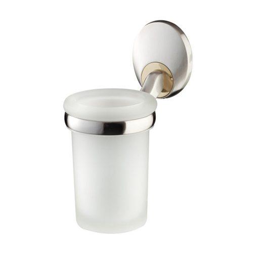 Bisk PASSION 03571 mattkróm fali üveg pohár tartóval cserélhető króm/arany betéttel