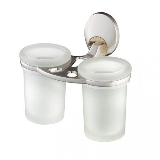 Bisk PASSION 04381 mattkróm fali dupla üveg pohár tartóval cserélhető króm/arany betéttel