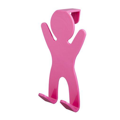 Bisk CITY 06652 rózsaszín ajtóra-kabinra akasztható kétágú fogas pp