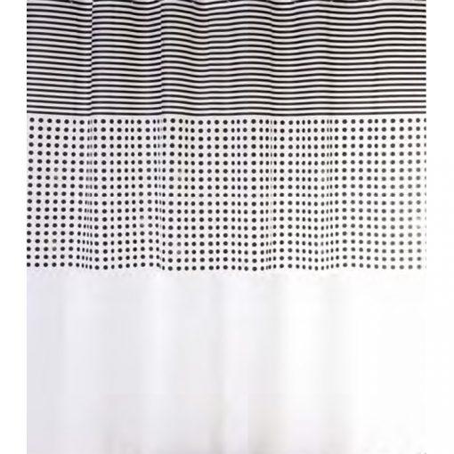 Bisk Nicesea 06849 Malta Black/White 180x200 Peva zuhanyfüggöny karikával