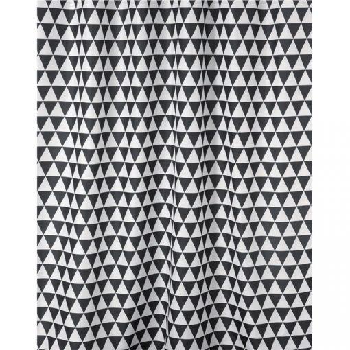 Bisk Nicesea 06880 Plain Black/White 180x200 textil zuhanyfüggöny karikával