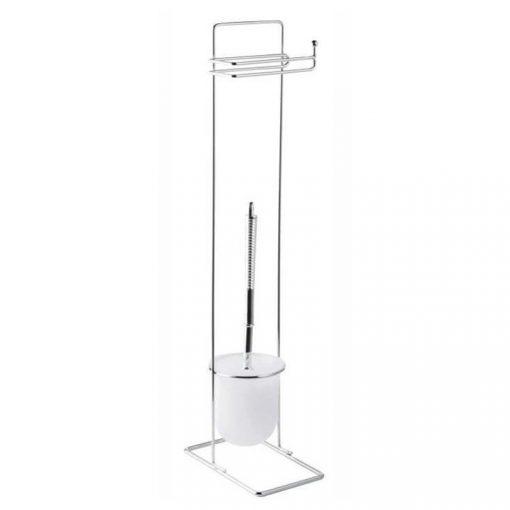 Bisk BASIC 07559 fényes króm álló wc kefe tartó wc papír tartóval