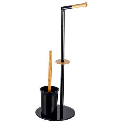Bisk NIAGARA 07618 fekete-fa álló wc papír tartó wc kefével fekete üveg talppal