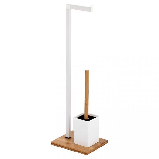 Bisk NIAGARA 07619 fehér-fa álló wc papír tartó wc kefével fa talppal