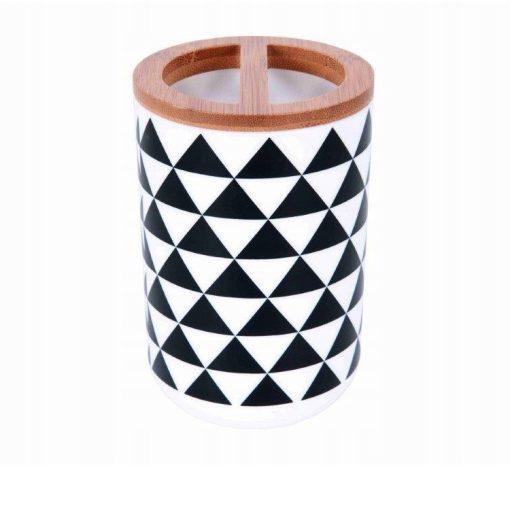Bisk Nicesea 07904 Snow Concept fogkefetartó pohár, fekete/fehér