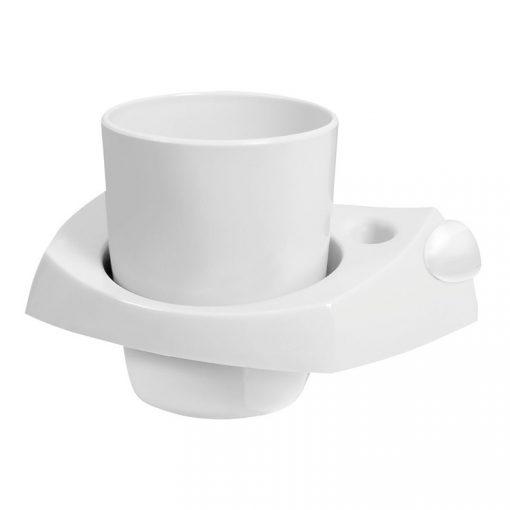 Bisk PALERMO 26627 fehér pohártartó pohárral