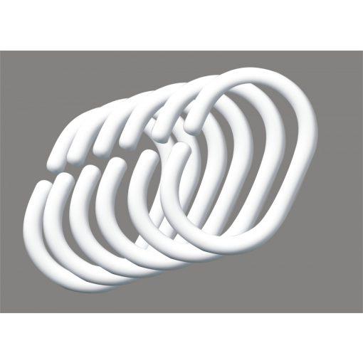 Bisk Nicesea 91202 12 db-os fehér műanyag zuhanyfüggönytartó karika