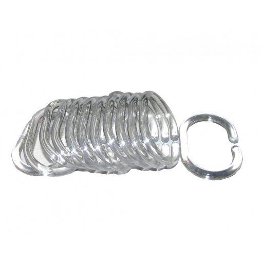 Bisk Nicesea 97200 12 db-os átlátszó műanyag zuhanyfüggönytartó karika